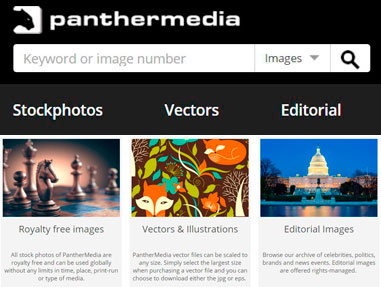 Overview of PantherMedia categories from Homepage